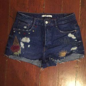 Zara Embroidered High Waist Patched Denim Shorts 4